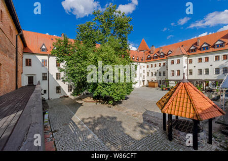 Bytow, pomeranian province, Poland, ger.: Butow. Inner court of the 14th cent. castle of the Teutonic Knights. - Stock Photo