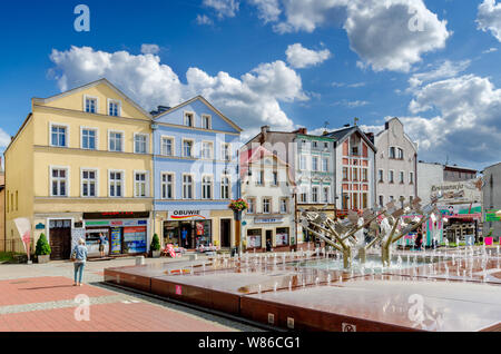 Bytow, pomeranian province, Poland, ger.: Butow. Main market square. - Stock Photo