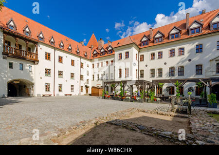 Bytow, pomeranian province, Poland, ger.: Butow. Inner courtyard of the 14th cent. castle of the Teutonic Knights. - Stock Photo