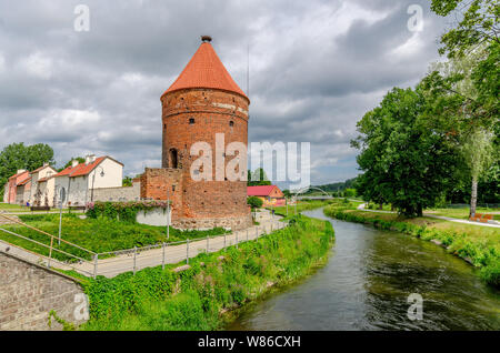 Dobre Miasto, ger. Guttstadt, warmian-mazurian province, Poland. The Stork Tower, remains of the medieval city walls by the river of Lyna (Alle). - Stock Photo