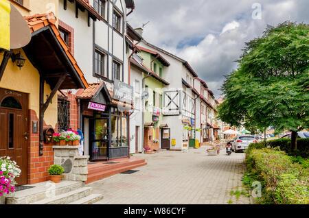 Dobre Miasto, ger. Guttstadt, warmian-mazurian province, Poland. John Paul II street. - Stock Photo