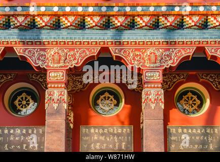 The Datsan Gunzechoinei is a large Buddhist temple. St. Petersburg, Russia. Buddhist datsan facade - Stock Photo