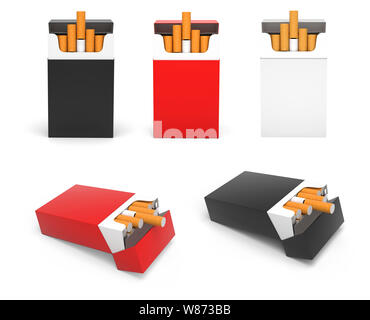 Packs of cigarettes. Standing and laying open packs - Stock Photo