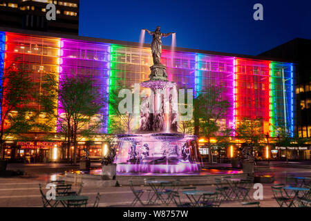 The Tyler Davidson Fountain or The Genius of Water is a statue and fountain located in Cincinnati, Ohio. It is regarded as the city's symbol and one o - Stock Photo