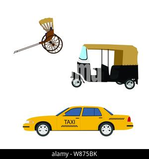 Taxi cab icon set:  yellow taxi, hand pulled rickshaw and indian tuk-tuk. Vector illustration - Stock Photo
