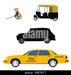 Taxi cab icon set:  yellow taxi, London cab, hand pulled rickshaw and indian tuk-tuk. Vector illustration - Stock Photo