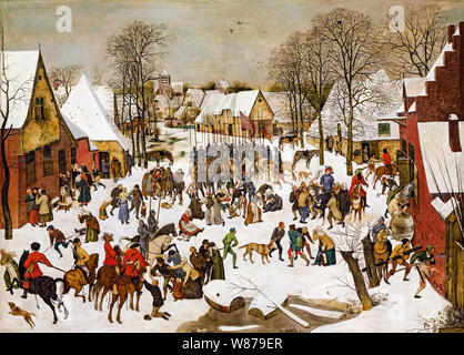 Pieter Brueghel the Younger, A winter landscape, with, the Massacre of the Innocents, painting, 1564-1638 - Stock Photo