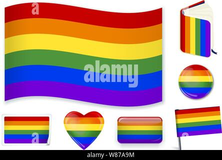 LGTBI flag. Vector illustration 3 layers. Shadows, flat flag, lights and shadows. Collection of world flags. Accurate colors. Easy changes - Stock Photo