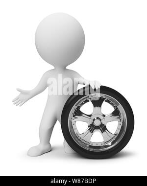 3d small people with a wheel. 3d image. Isolated white background. - Stock Photo