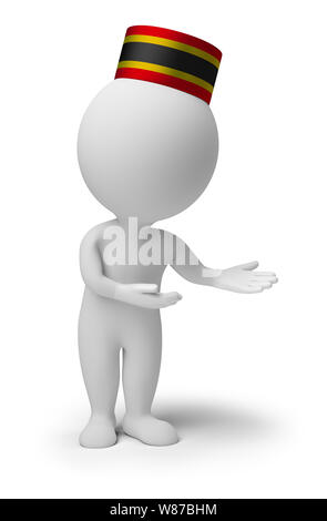 3d small people - bellboy in an 'welcome' pose. 3d image. Isolated white background. - Stock Photo