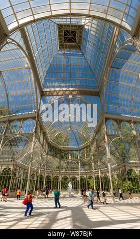 Vertical panoramic of the Palacio de Cristal at Retiro Park in Madrid.