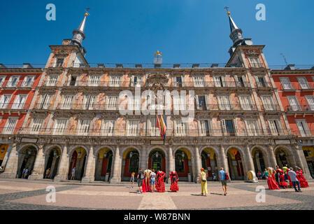 Horizontal view of Plaza Mayor in Madrid. - Stock Photo