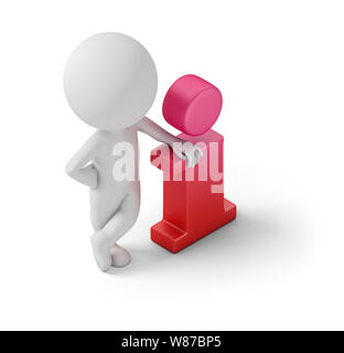 Isometric person standing near to an information icon. 3d image. White background. - Stock Photo