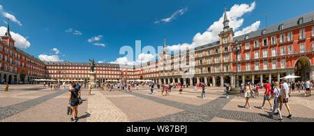 Horizontal panoramic of Plaza Mayor in Madrid.