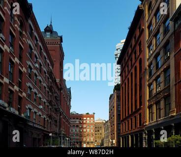 Historic buildings along Harrison Street in the Tribeca neighborhood of Manhattan in New York City NYC - Stock Photo