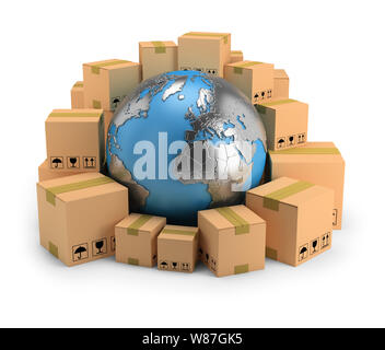 Globe surrounded by cardboard boxes. 3d image. White background. - Stock Photo