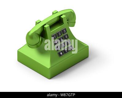 Isometric telephone. 3d image. Isolated white background. - Stock Photo