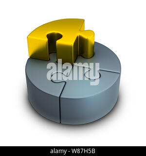 Puzzle statistics and gold puzzle. 3d image. Isolated white background. - Stock Photo