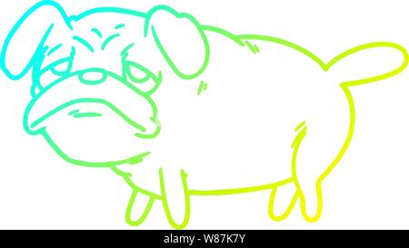 cold gradient line drawing of a cartoon unhappy pug dog - Stock Photo