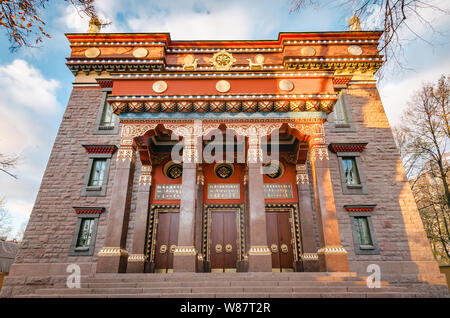 The Datsan Gunzechoinei is a large Buddhist temple. St. Petersburg, Russia. Buddhist datsan facade and main entrance to the temple - Stock Photo