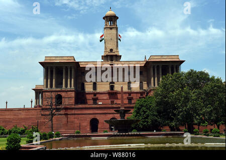 New Delhi. 8th Aug, 2019. Photo taken on Aug. 8, 2019 shows a government building in New Delhi, India. India on Thursday responded to Pakistan's decision to downgrade bilateral ties, saying the decision was 'not supported by facts on the ground.' A press release issued by India's Ministry of External Affairs said 'the government of India regrets the steps announced by Pakistan yesterday and would urge that country to review them so that normal channels for diplomatic communications are preserved.' Credit: Zhang Naijie/Xinhua/Alamy Live News - Stock Photo