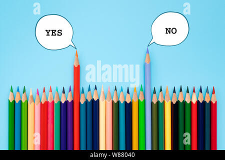 Debate, dialog, communication and education concept. color pencil talking about political opinions with speech bubbles - Stock Photo