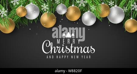 Festive template for Merry Christmas and Happy New Year 2020 with lettering. Fir tree with festive balls and falling snowflakes. Vector illustration. - Stock Photo