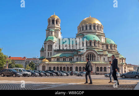 SOFIA, BULGARIA - JUNE 08, 2019: city view with Alexander Nevsky Cathedral in Sofia, Bulgaria on June 08, 2019. - Stock Photo