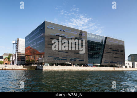 Denmark architecture; The Black Diamond, a modern extension to the Royal Danish Library Copenhagen, completed in 1999; Copenhagen, Denmark Europe - Stock Photo