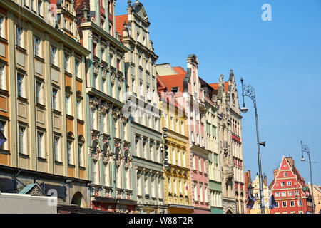 The beautiful multi colored houses at the market square in Wroclaw, Poland - Stock Photo