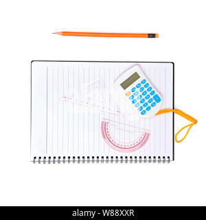 School and office supplies isolated on white background. Flat lay,top view. - Stock Photo