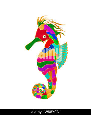 Watercolor style drawing of stylized seahors over white background - Stock Photo