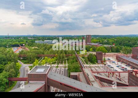 Aerial top panoramic view of Zeche Zollverein, Zollverein Coal Mine Industrial Complex, from rooftop of Ruhr museum in Ruhr region in Essen, Germany. - Stock Photo