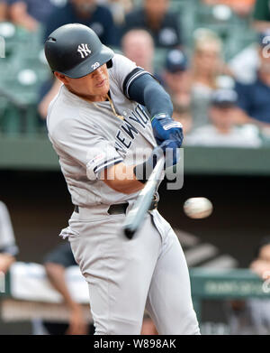 Baltimore, United States Of America. 07th Aug, 2019. New York Yankees third baseman Gio Urshela (29) bats in the first inning against the Baltimore Orioles at Oriole Park at Camden Yards in Baltimore, MD on Wednesday, August 7, 2019.Credit: Ron Sachs/CNP (RESTRICTION: NO New York or New Jersey Newspapers or newspapers within a 75 mile radius of New York City) | usage worldwide Credit: dpa/Alamy Live News - Stock Photo