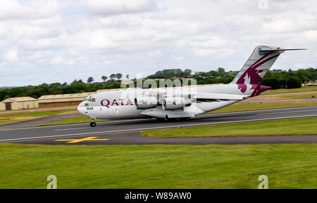 Qatar, Transport Squadron, C17A Globemaster III at the  Royal International Air Tattoo 2019 - Stock Photo