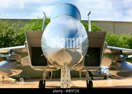 Grumman F-14 Tomcat Supersonic twin-engine jet fighter plane on display at the Pima Air & MSpace Museum, Tucson, AZ - Stock Photo