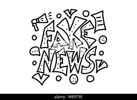 Fake news message. Banner design template with stylized phrase and decoration in doodle style. Vector black and white design illustration. - Stock Photo