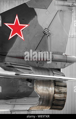 Red Star on the tail of a MIG 23 'Flogger' Russian fighter plane - Stock Photo