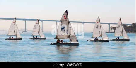 U.S. service members from veteran's hospitals around the United States compete in a sailing race in San Diego Harbor, Calif., on Sept. 30, 2008.  The week-long competition is part of the inaugural National Veteran's Summer Sports Clinic.