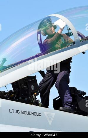 Airman Steven Gardner, assigned to Strike Fighter Squadron 154, cleans the cockpit window of an F/A-18F Super Hornet aboard the aircraft carrier USS Ronald Reagan (CVN 76) underway in the Pacific Ocean on April 13, 2011. - Stock Photo