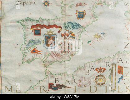 1561 Portulan map of Ibrian Peninsula painted by Diego Homen. Original at Spanish Naval Museum - Stock Photo