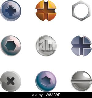 Metal screw head icon set. Cartoon set of 9 metal screw head vector icons for web design isolated on white background - Stock Photo