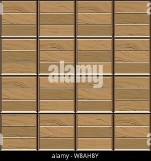 Abstract seamless pattern of brown wood parquet floor tiles.Design geometric mosaic texture for the decoration of the bedroom, vector illustration - Stock Photo