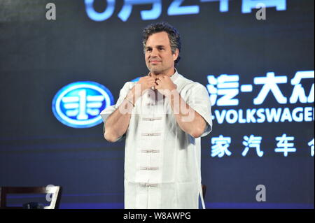 American actor Mark Ruffalo poses at the press conference for the premiere of his movie 'Now You See Me 2' in Beijing, China, 20 June 2016. - Stock Photo