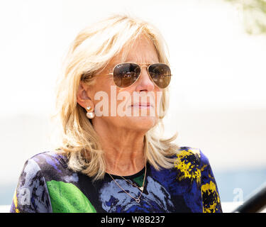 Jill Biden at the Soapbox at the Iowa State Fair in Des Moines, Iowa on August 8, 2019. - Stock Photo
