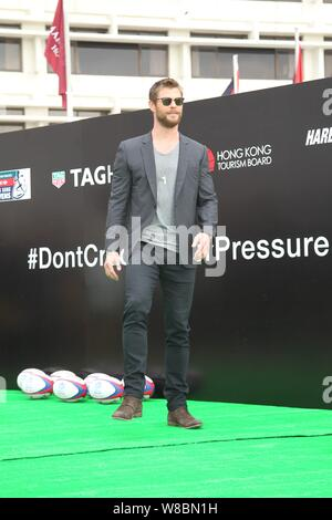 Australian actor Chris Hemsworth poses at the opening event for a watch store of TAG Heuer in Hong Kong, China, 7 April 2016. - Stock Photo