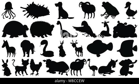 Set of sihouette isolated objects theme - animals illustration Stock Photo