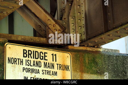 Under a railway bridge at Takapu Rd Station, Tawa, NZ - Stock Photo
