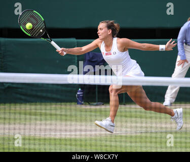 Czech tennis player Barbora Strycova playing forehand shot during 2019 Wimbledon Championships, London, England, United Kingdom - Stock Photo