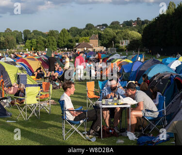 Tennis fans camping at the 2019 Wimbledon Championships, London, England, United Kingdom - Stock Photo